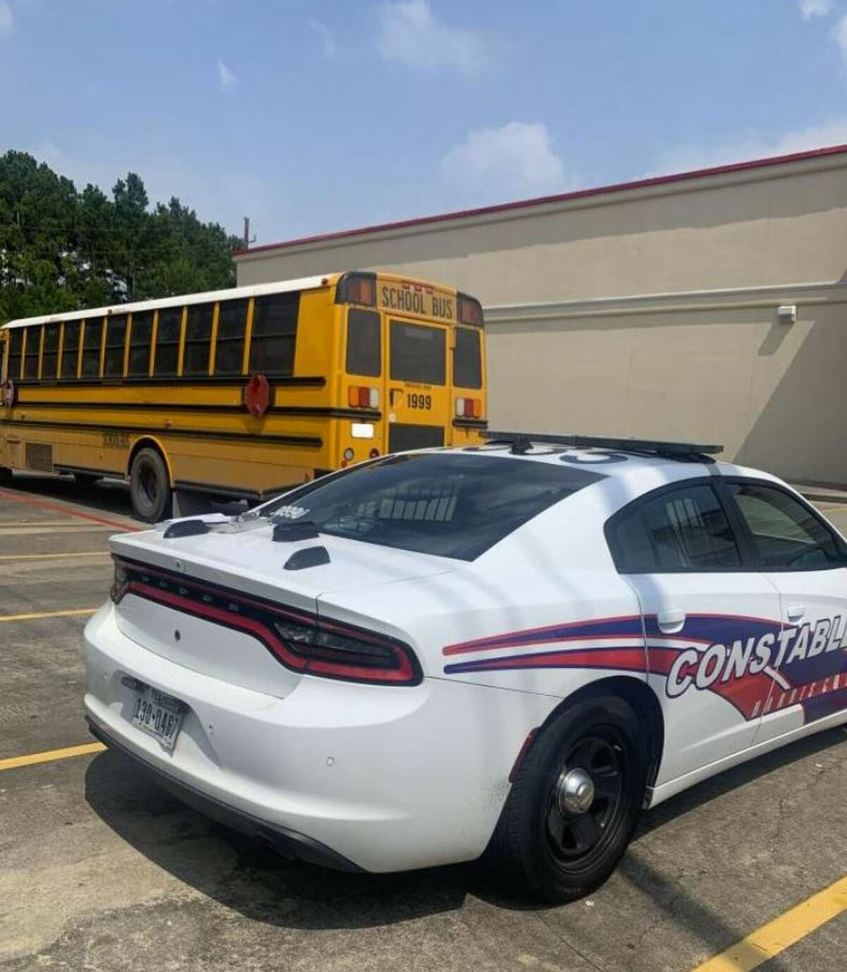 Tweeted photo of the school bus provided by Harris County Pct. 4.
