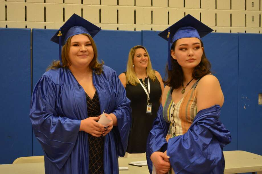 The 44 members of Middletown Adult Education class of 2019 received their degrees May 30 in the high school auditorium during the 74th annual commencement exercises. Class speaker Jessica Acevedo was among 17 who earned credit diplomas. Three students earned an external diploma, and 24 took home a state of Connecticut high school diploma, or GED. Photo: Cassandra Day / Hearst Media Connecticut