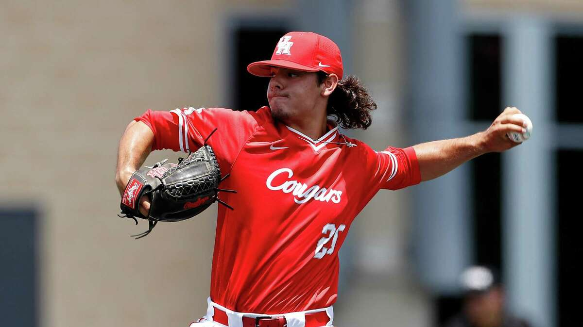 Houston's Clay Aguilar (20) pitches during an UNLV at University of Houston NCAA college baseball game, Sunday, May 5, 2019, in Houston. (AP Photo/Aaron M. Sprecher)