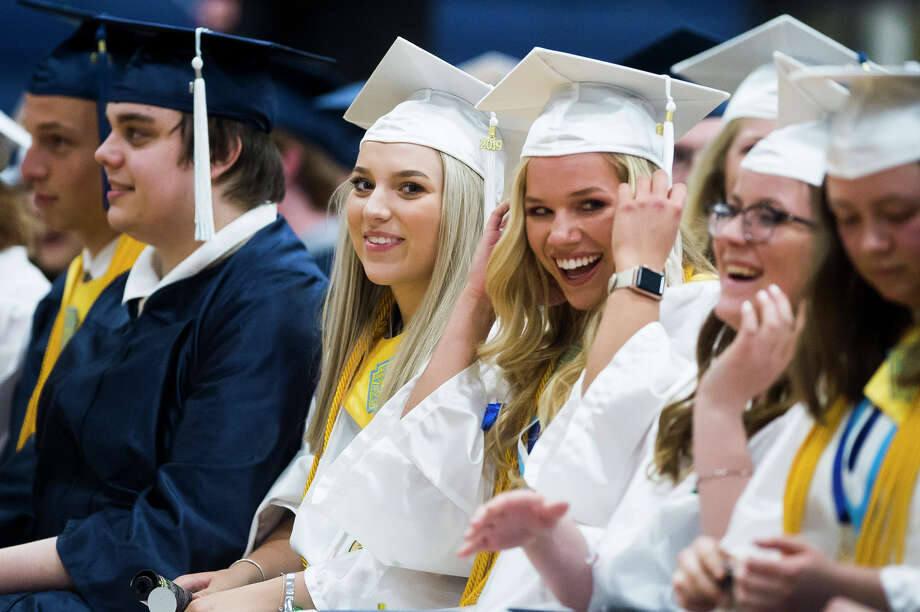 Meridian Early College High School seniors celebrate graduation during their commencement ceremony on Thursday, May 30, 2019 in the school's gymnasium. (Katy Kildee/kkildee@mdn.net) Photo: (Katy Kildee/kkildee@mdn.net)