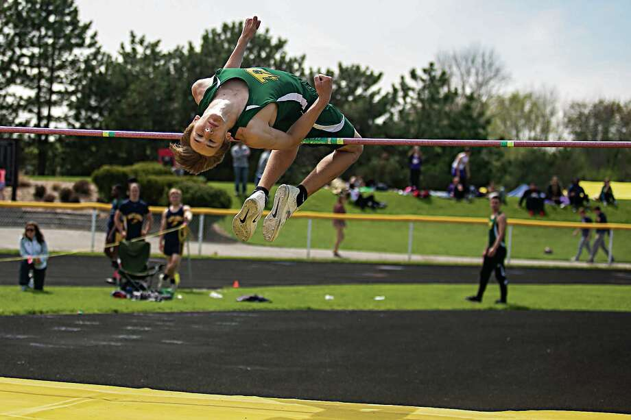 Dow High's Garrett Daniels competes in the high jump at the Division 1 regional held at Bay City Western earlier this season. Photo: Daily News File Photo