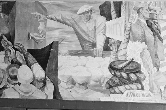 Anton Refrigier murals at the Rincon Annex post office in san Francisco 05/12/1948