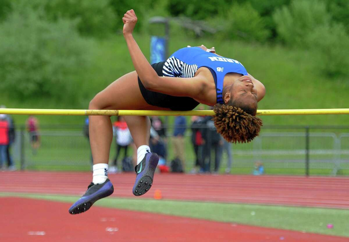 Darien's Chelsi Chevannes competes in the high jump during Class L Track and Field Championship action in Middletown, Conn., on Thursday May 30, 2019.