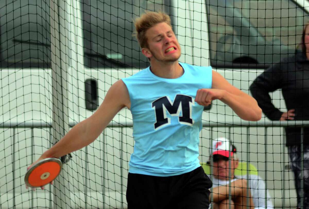 Middletown's Jacob O'Reily competes in the discus throw during Class L Track and Field Championship action in Middletown, Conn., on Thursday May 30, 2019.