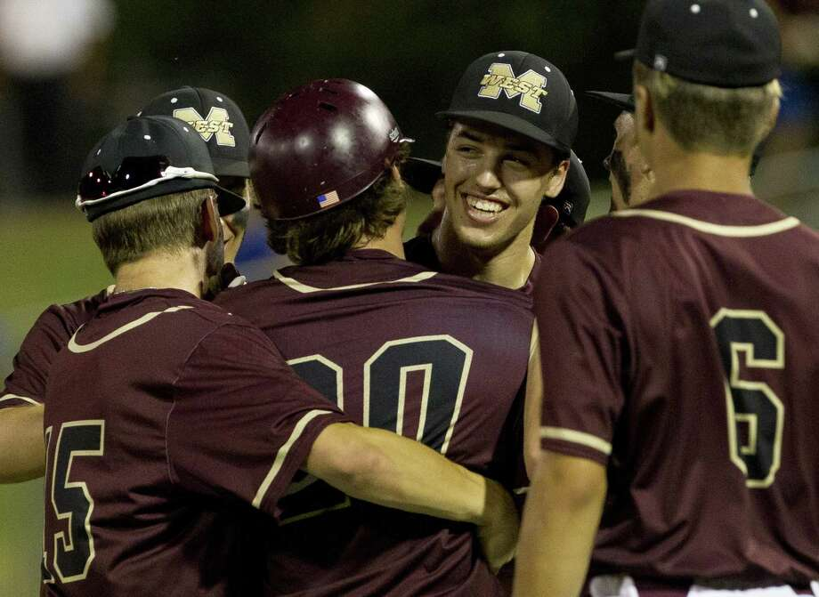 Magnolia West starting pitcher Connor Phillips (9) reacts after leading the Mustangs to a 2-1 win over Georgetown in Game 1 of a Region III-5A final series at Blue Bell Park on the campus of Texas A&M University, Thursday, May 30, 2019, in College Station. Photo: Jason Fochtman, Houston Chronicle / Staff Photographer / © 2019 Houston Chronicle