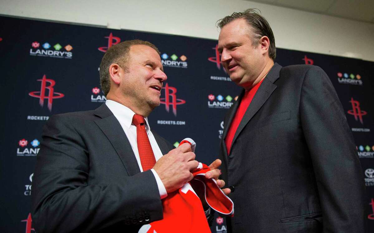 Rockets general manager Daryl Morey (right) and owner Tilman Fertitta pulled off one of the NBA's shocking offseason moves Thursday by trading for Russell Westbrook.