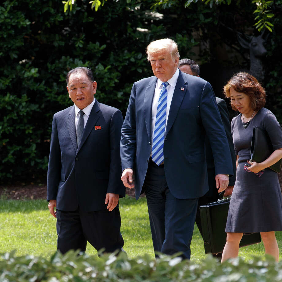 FILE -- President Donald Trump walks with Kim Yong-chol, left, a top North Korean nuclear arms negotiator, at the White House in Washington, June 1, 2018. A major South Korean daily has reported that Kim Yong-chol was sentenced to forced labor as part of a sweeping purge after the breakdown of his second summit with Trump; another senior envoy was reportedly executed. (Tom Brenner/The New York Times) Photo: TOM BRENNER / NYTNS