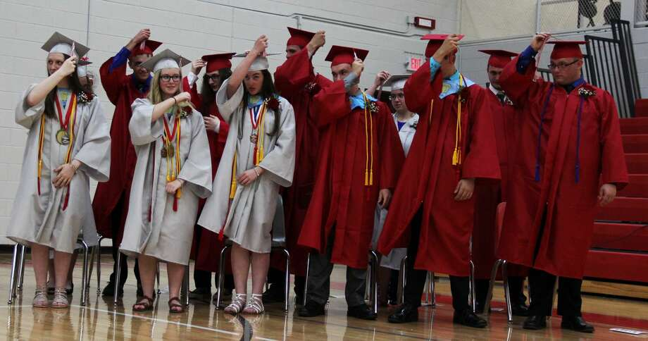 The Class of 2019 celebrates their last time in Owendale-Gagetown High School. Photo: Andrew Mullin/Huron Daily