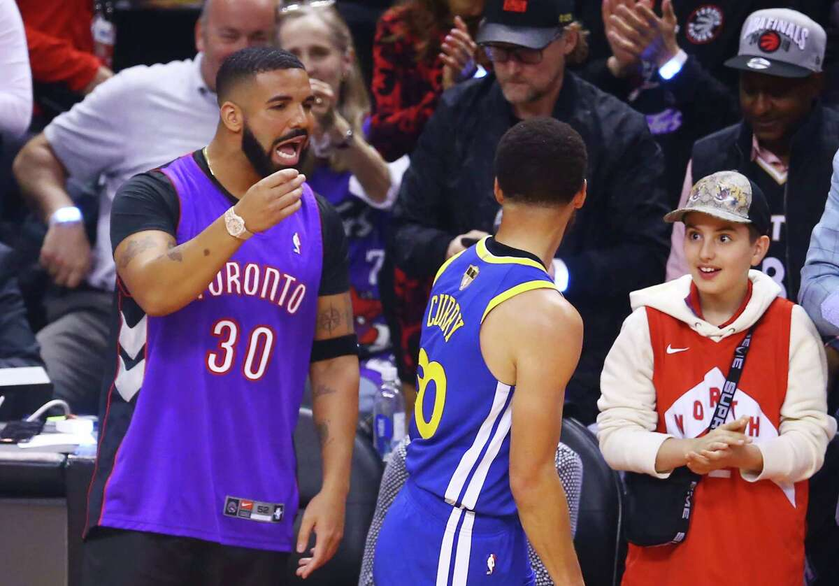 Drake Not only is Drake all over the place at Raptors home games - taking a few steps on the floor to mock opponents, giving Raptors coach Nick Nurse a shoulder rub - he's also not even loyal. He has the jersey numbers of Golden State's Steph Curry and Kevin Durant tattooed on his arm (covered by the wristband in the photo above). He has celebrated with LeBron James when the Heat and Cavaliers won titles. He's the ultimate bandwagon fan.