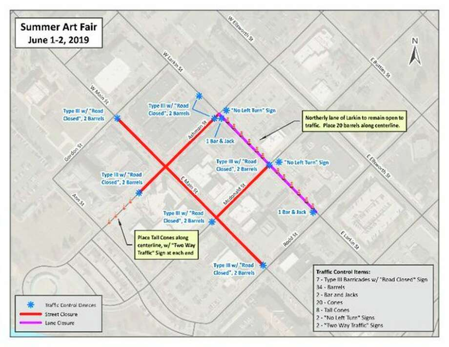 This map shows downtown street closures from 12 a.m. Saturday to 7 p.m. Sunday. (Downtown Development Authority)
