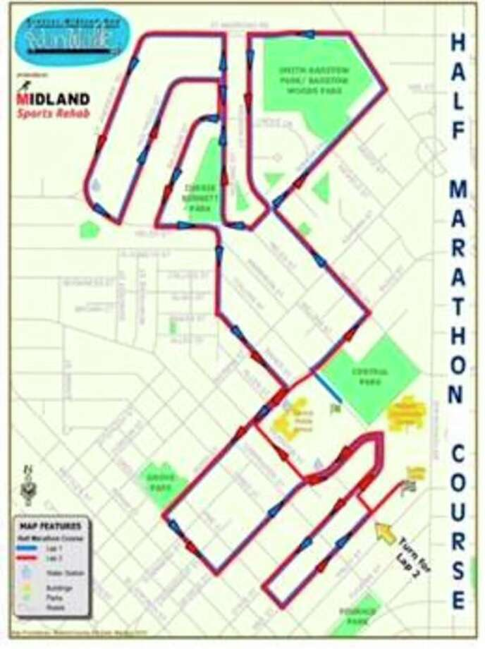 The course for Saturday's Dow RunWalk. Streets affected by the races will be closed starting at 7:20 a.m. Saturday.