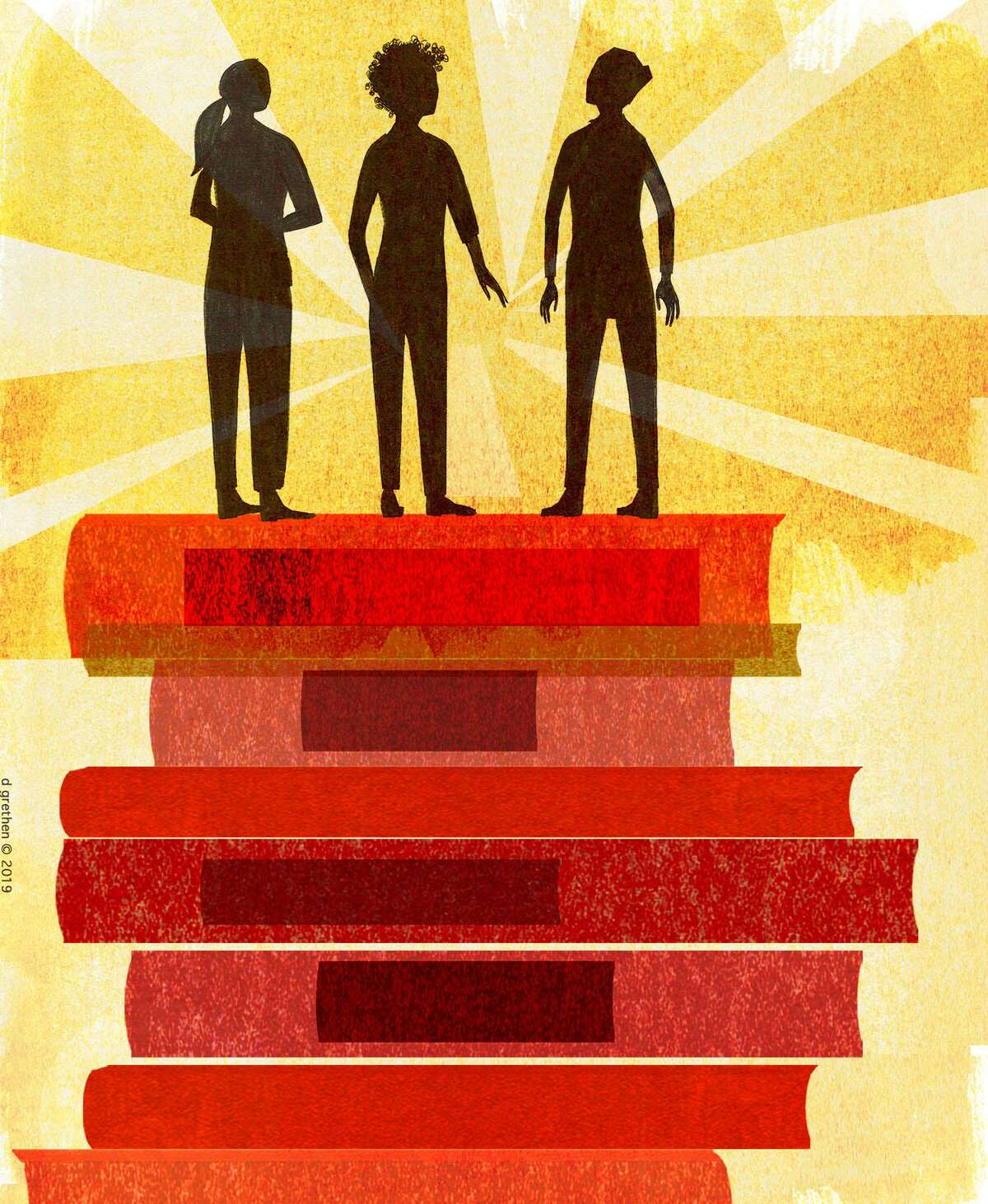 This artwork by Donna Grethen refers to the benefits of equal education for students from all types of backgrounds, and the need to encourage them to pursue higher education.