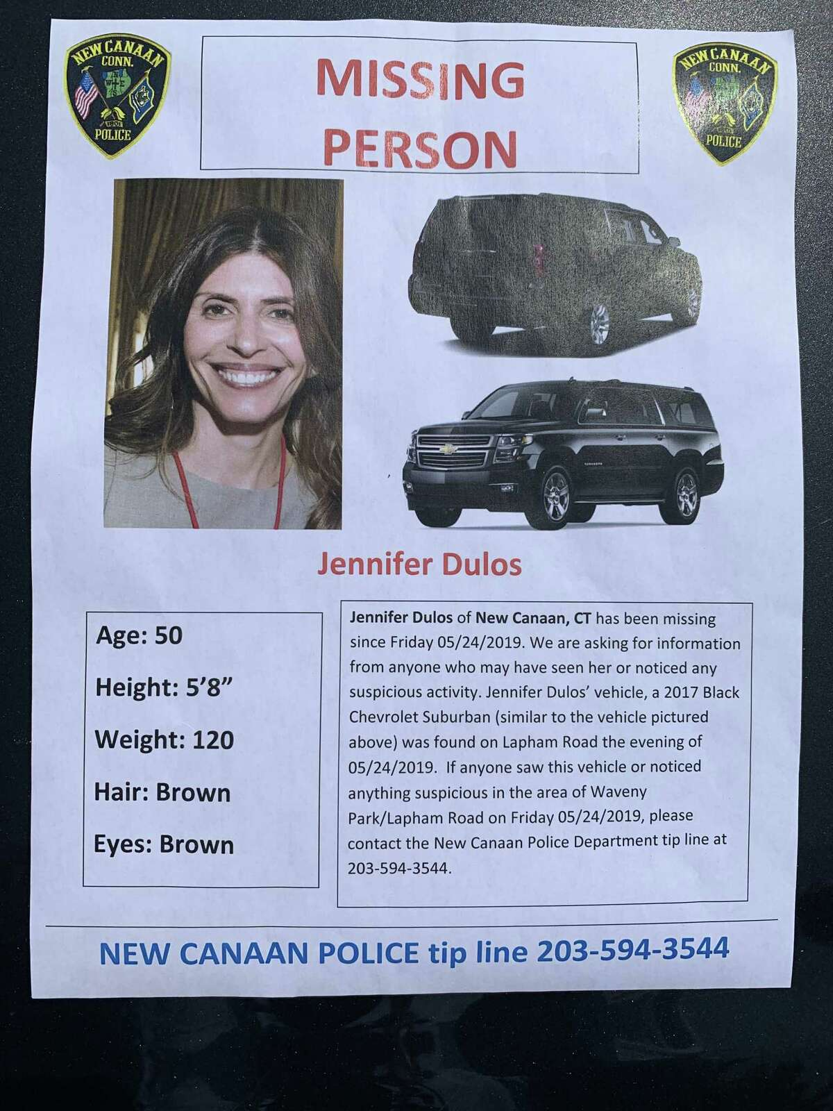 Police handed out missing persons flyers near where Jennifer Dulos' SUV was found on Lapham Road. This will be the second time that the Dulos case will be featured on Dateline. The first episode to discuss the case aired last September. Recently, the disappearance was given the documentary treatment on ID Discovery with the premiere of