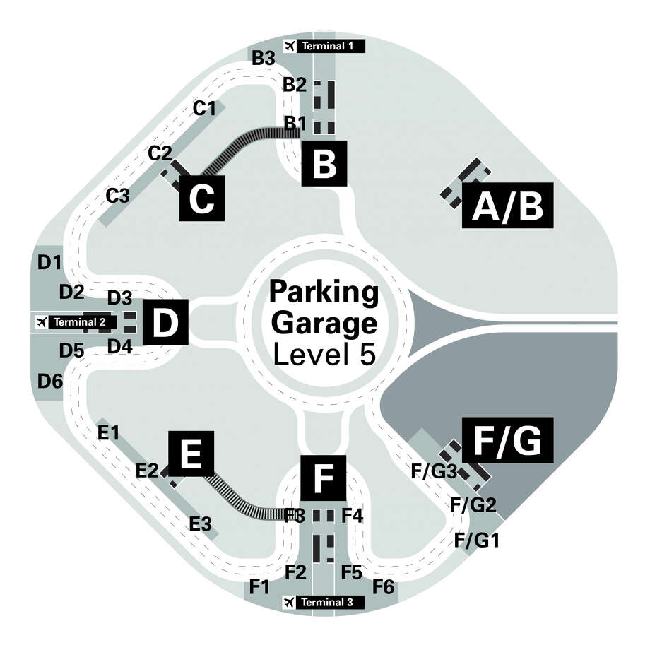 Here's a diagram of the new ridesharing pick up area on the top of SFO's domestic parking deck. Photo: SFO