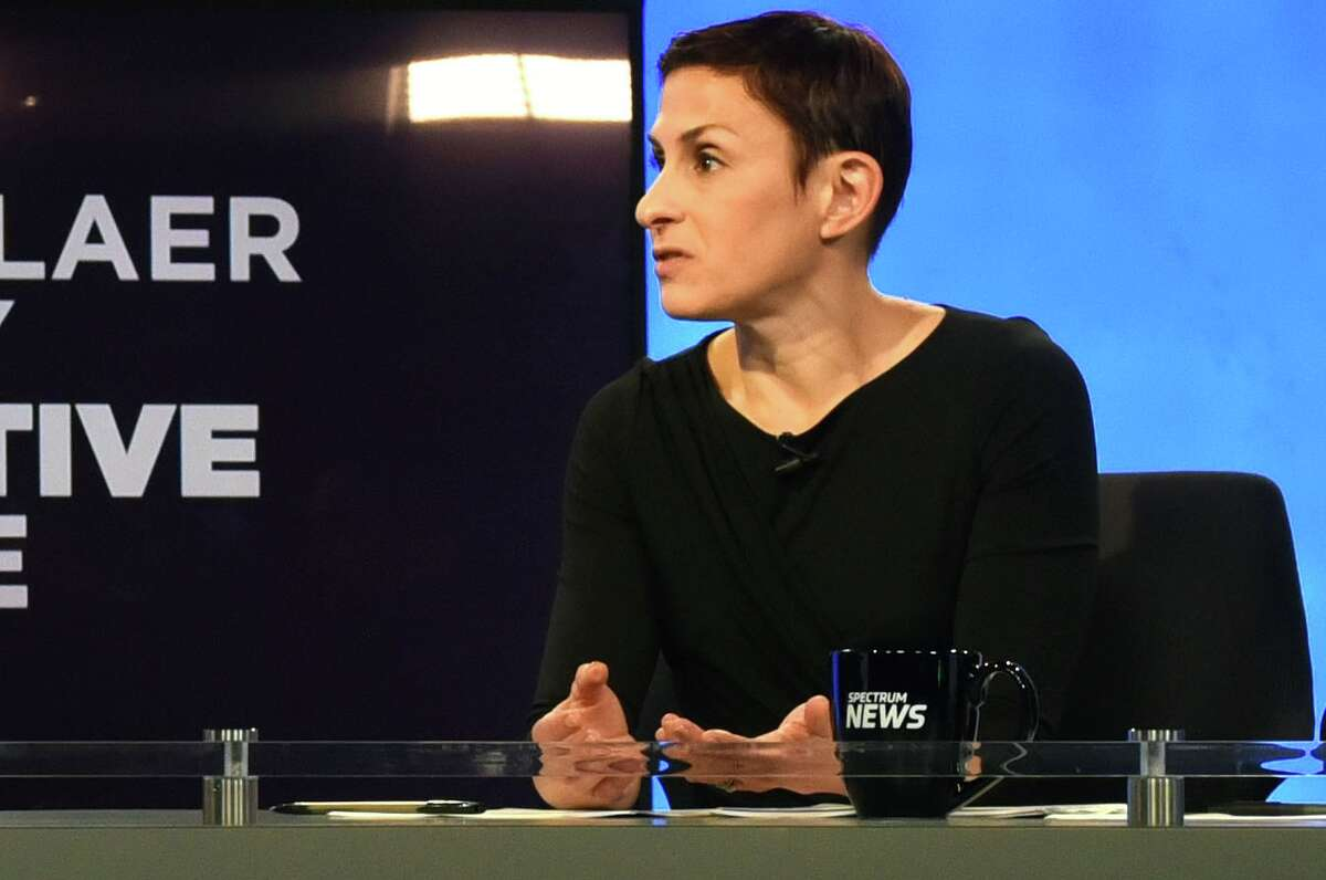 Liz Benjamin hosts a political debate at Spectrum News on Thursday, Nov. 2, 2017, in Albany, N.Y. (Will Waldron/Times Union)