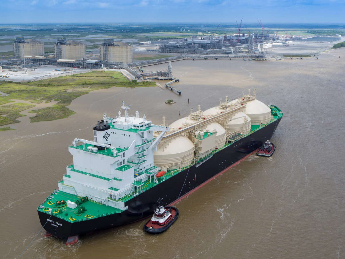 A Singapore-flagged tanker named the Marvel Crane left Cameron LNG early Friday morning carrying the Louisiana facility's first export shipment of liquefied natural gas.