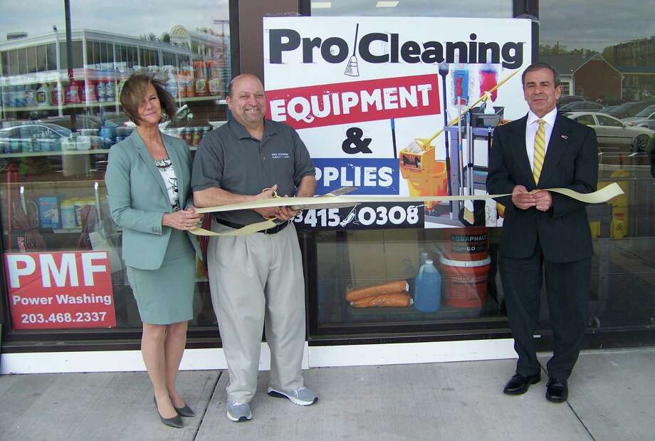 CLEANING UP: From left, Quinnipiac Chamber of Commerce Executive Director Dee Prior-Nesti, Pro Cleaning Equipment & Supplies owner Bob Fournier and North Haven First Selectman Michael Freda celebrate the grand opening ribbon-cutting recently of Pro Cleaning, 117 Washington Ave. in North Haven. The commercial and residential cleaning company offers cleaning supplies and equipment for any job large or small, as well as rentals of floor machines, high-speed burnisher, air movers, backpack vacs, carpet extractors and wet-dry vacs. Call 203-415-0308 or visit www.procleaning-supplies.com. Photo: Contributed Photo