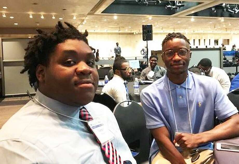 Albany High students Chandon Bouyea and Darryl White are among this year's fellows in the My Brother's Keeper Program. There were at a convention on May 31, 2019 in Albany N.Y. Photo: Rick Karlin/Times Union