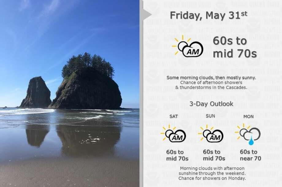 High temperatures were expected to reach the 60s or 70s on Friday, Saturday and Sunday in Seattle. Shower chances increase Monday. Photo: Courtesy NWS