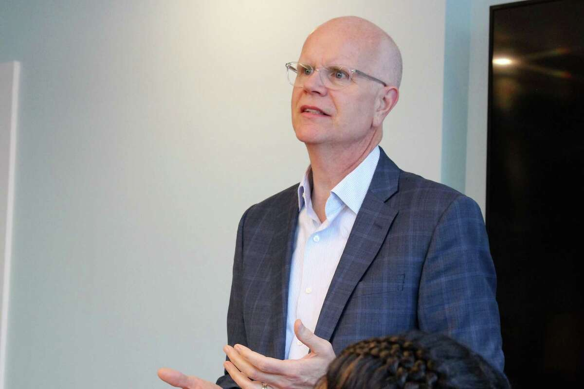 Connecticut Comptroller Kevin Lembo speaks to the Wall Street Neighborhood Association on Wednesday, May 23, 2019 about a proposed public option for small business owners.
