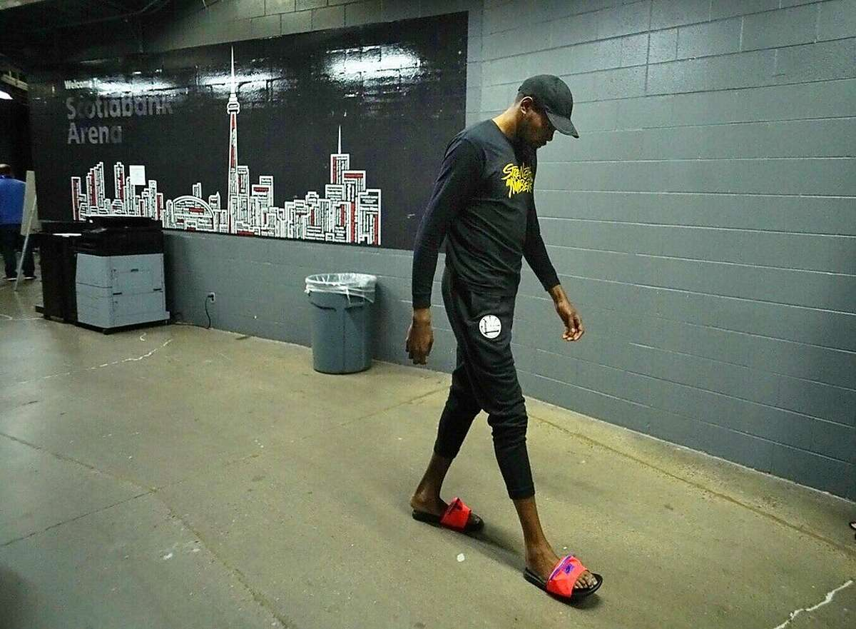 Golden State Warriors' Kevin Durant heads to the locker room on Friday, May 31, 2019 at Scotiabank Arena in Toronto, Ontario, Canada.