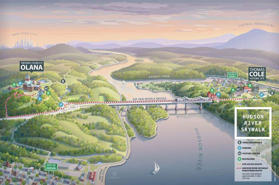 A map of the new Hudson River Skywalk that spans the river at the Rip Van Winkle Bridge.