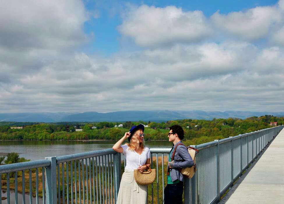 The view of the Hudson River valley from the new Hudson River Skywalk, which spans the Rip Van Winkle Bridge between Catskill and Greenport.