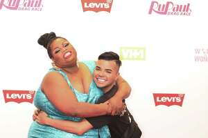 "Silky Nutmeg Ganache (left) hugs Vanessa Vanjie Mateo on the red carpet at Levi's Plaza before the finale screening of season 11's ""RuPaul's Drag Race."""
