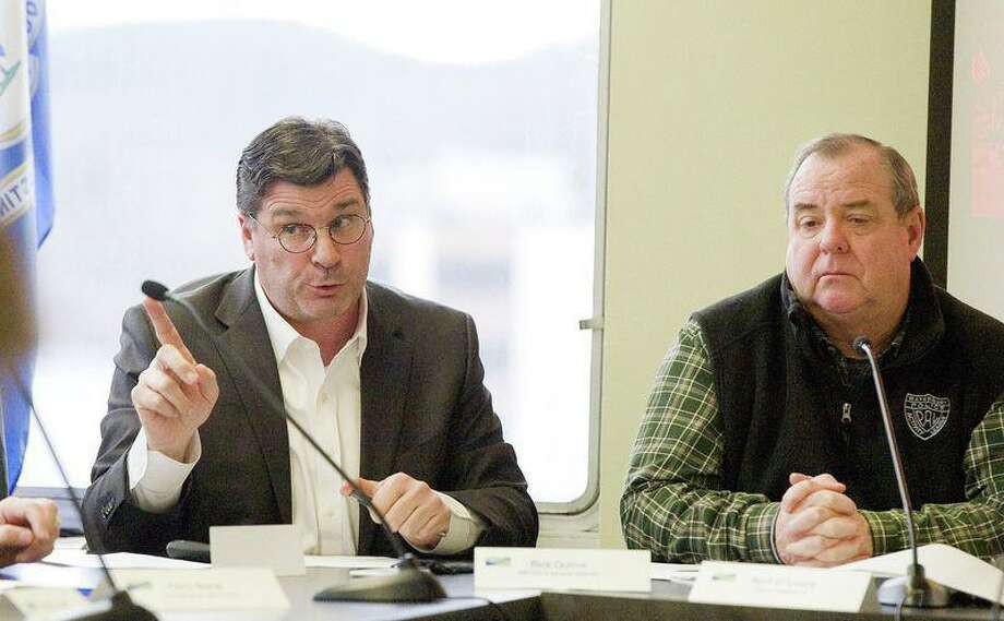 Rick Dunne, executive director of the Naugatuck Valley Council of Governments, left, answers questions as Waterbury Mayor Neil M. O'Leary, right, looks on. O'Leary is one of seven white males likely to be running the state's largest cities after the November election. Photo: Republican-American Archives Contributed Photo / Contributed