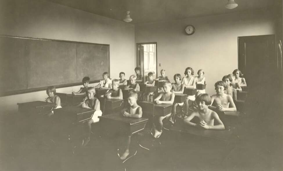 Click through the gallery to see photos of the Homestead then and now. Children went to school at The Homestead, a tuberculosis sanatorium, without shirts so that fresh air could have better penetrate to their lungs. (Saratoga County Historian)