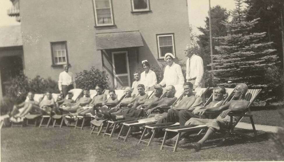 Male patients sunned themselves at The Homestead. (Saratoga County Historian)