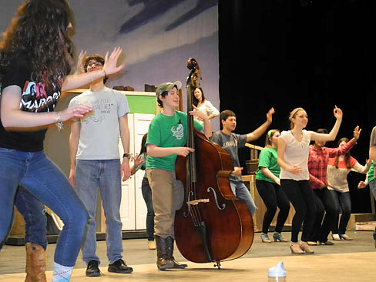 Rehearsals for Trumbull High's 'Crazy for You.' It opens today and runs this weekend.