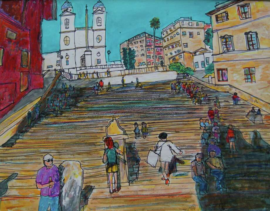 """Goshen artist Don Sexton's work will be exhibited at the NorthEast-Millerton Library, 75 Main St, Millerton, NY, June 4-28. Above, """"Spanish Steps,"""" in Rome. Photo: Don Sexton / Contributed Photo /"""