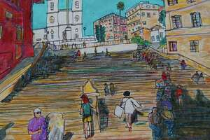 "Goshen artist Don Sexton's work will be exhibited at the NorthEast-Millerton Library, 75 Main St, Millerton, NY, June 4-28. Above, ""Spanish Steps,"" in Rome."