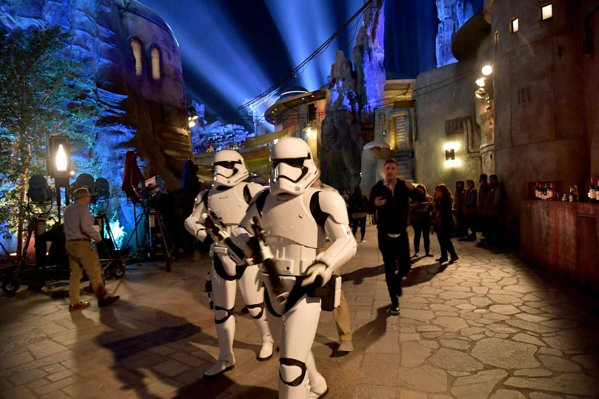 Stormtroopers are seen at the Star Wars: Galaxy's Edge Media Preview at the Disneyland Resort on May 29, 2019 in Anaheim, California.