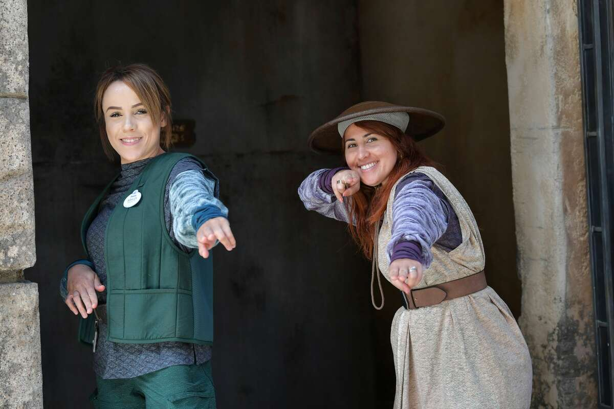 Disney cast members pose during Star Wars: Galaxy's Edge media preview at The Disneyland Resort at Disneyland on May 29, 2019 in Anaheim, California.