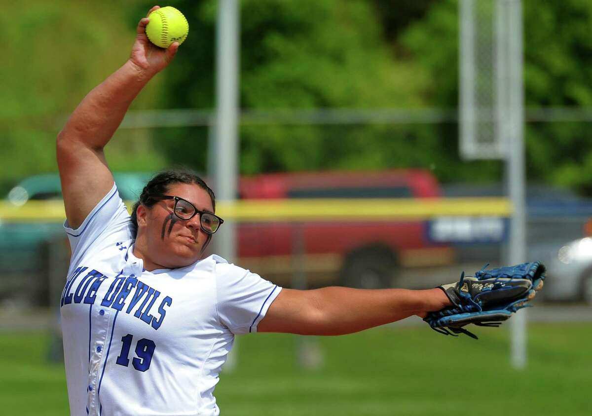West Haven's Ivy Santos pitches against Ridgefield during Class LL softball action in West Haven, Conn., on Friday May 31, 2019.