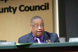 King County councilmember Larry Gossett speaks during a council meeting recognizing NBA All-Star and former Seattle SuperSonic Jack Sikma, Wednesday, for his recent entry to the NBA Hall of Fame, May 29, 2019. This week is the 40th anniversary of the Sonics 1979 NBA championship.