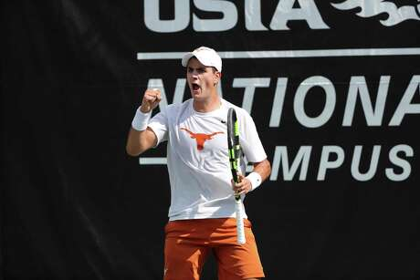 ORLANDO, FL - MAY 19: Rodrigo Banzer of the University of Texas in action against Siddhant Banthia of Wake Forest University during the Men's Championship singles matches between the University of Texas and Wake Forest University during the 2019 NCAA National Championships at the USTA National Campus in Orlando, Florida on May 19, 2019. (Photo by Joe Murphy/USTA)