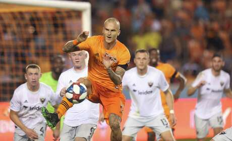 USA: TX: Houston: Houston Dynamo defender Aljaz Struna (6) kicks the ball against D.C. United during a corner kick in the first half on May 18, 2019 at BBVA Compass Stadium in Houston, TX.