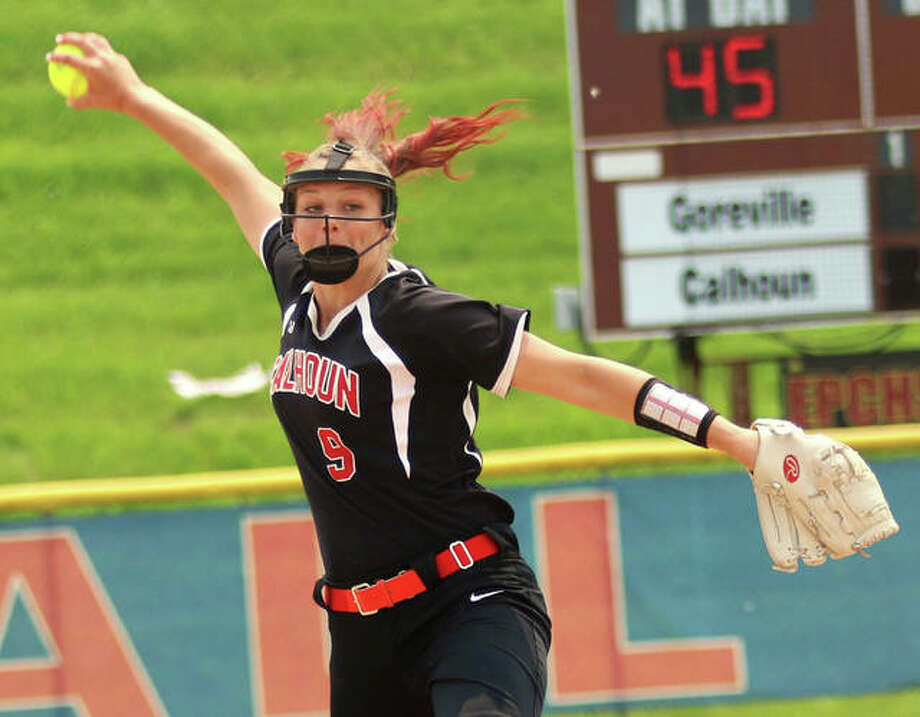 Calhoun junior Sydney Baalman delivers to the plate Friday in a Class 1A softball state tournament semifinal at EastSide Centre in East Peoria. After 11 scoreless innings and 20 strikeouts from Baalman, Goreville pulled out a 2-0 victory in 12 innings. Photo: Greg Shashack / The Telegraph