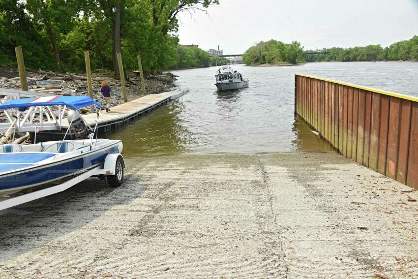 A New York State DEC police patrol boat makes its way to the new Ingalls Avenue Boat Launch on Friday, May 31, 2019 in Troy, N.Y. The site provides improved public access to the Hudson River in TroyOs North Central neighborhood, immediately south of the Federal Lock and Dam, for motorized and non-motorized watercraft, including boaters, kayakers, and anglers. (Lori Van Buren/Times Union)