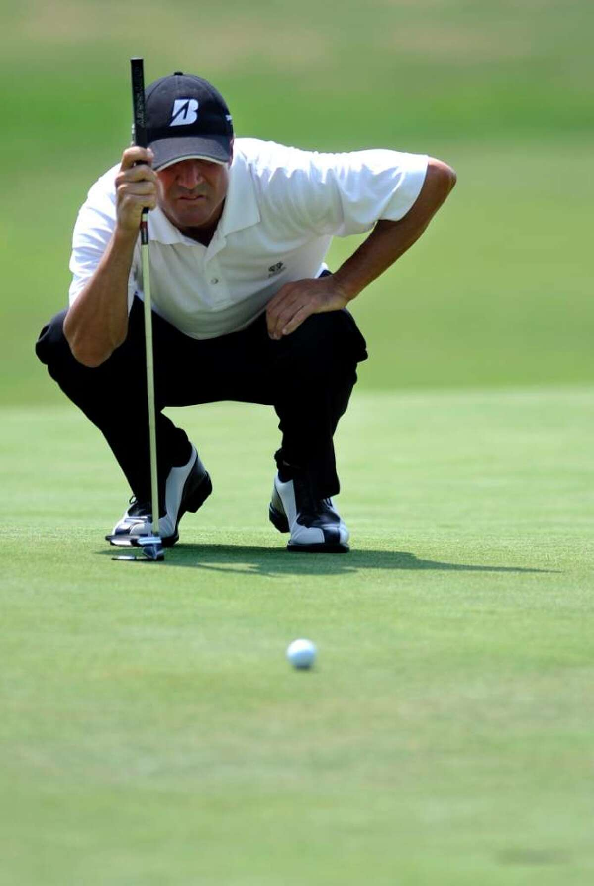 Bobby Gage competes in the Connecticut Open golf tournament at the Country Club of Fairfield on Wednesday, July 28, 2010.