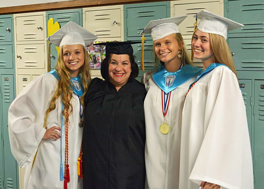 """Mercy High School's class of 2019 earned their diplomas Friday night. Over the course of their four years of college, the class of 2019 will receive more than $7.5 million in scholarships, and 100 percent will go on to higher education. Sister Mary McCarthy left the young ladies with a wealth of wisdom, most notably """"find the peace in your heart that will bring peace to the world,"""" """"have hearts that search for justice and peace"""" and """"become the shoulders for those who follow you."""" Marie Kalita addressed the young ladies, quoting from Dr. Seuss' """"Oh the Places You'll Go!"""" """"Congratulations! Today is your day. You're off to Great Places! You're off and away!"""" Photo: Cassandra Day / Hearst Connecticut Media"""