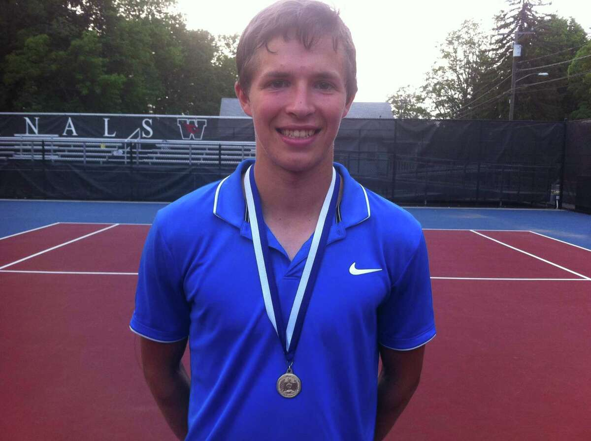 Michael Karr of Darien won the Class LL boys singles championship on Friday, May 31, 2019, at Wesleyan University in Middletown.