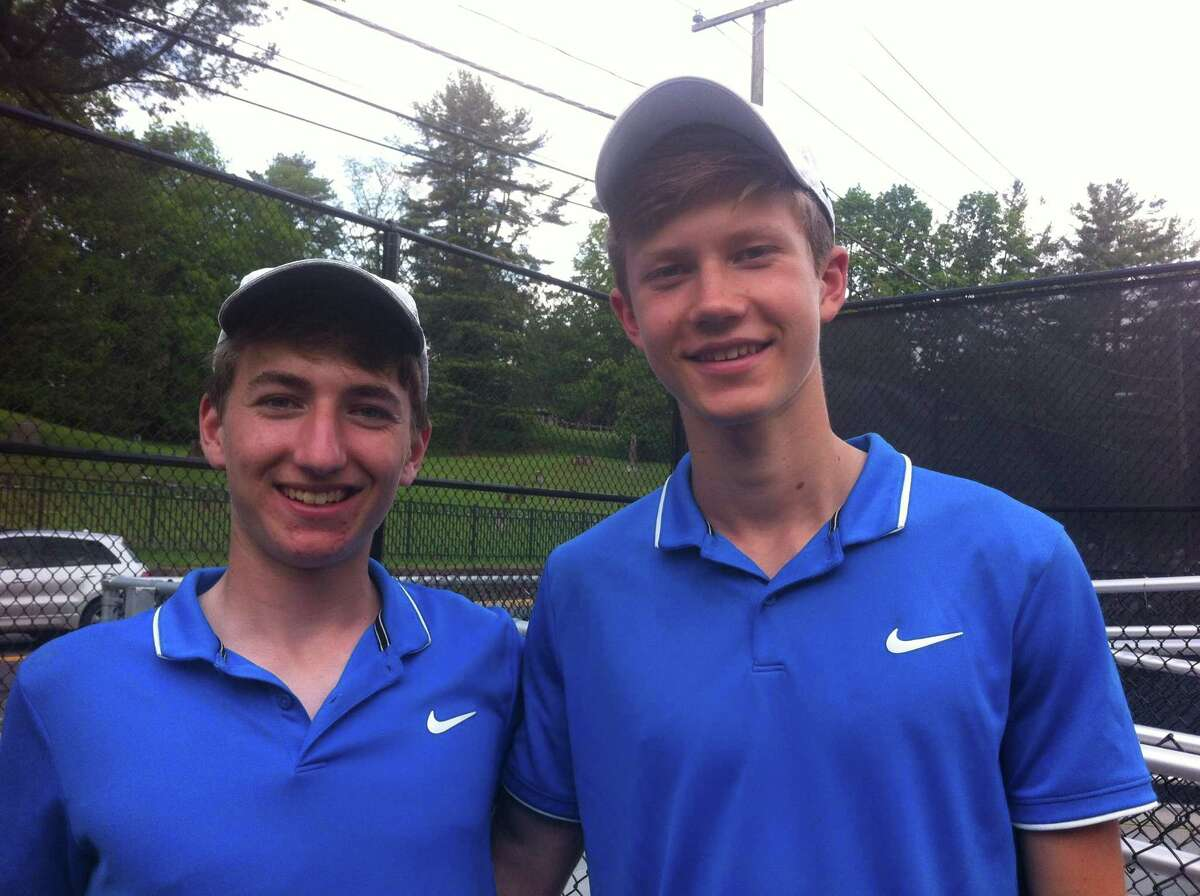 Romano DeCaprio, left, and Chris Calderwood of Darien won the Class LL doubles championship on Friday, May 31, 2019, at Wesleyan University in Middletown.