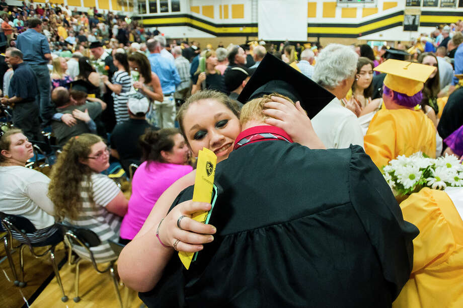 Bullock Creek High School seniors celebrate graduation during their commencement ceremony on Friday, May 31, 2019 in the school's gymnasium. (Katy Kildee/kkildee@mdn.net) Photo: (Katy Kildee/kkildee@mdn.net)
