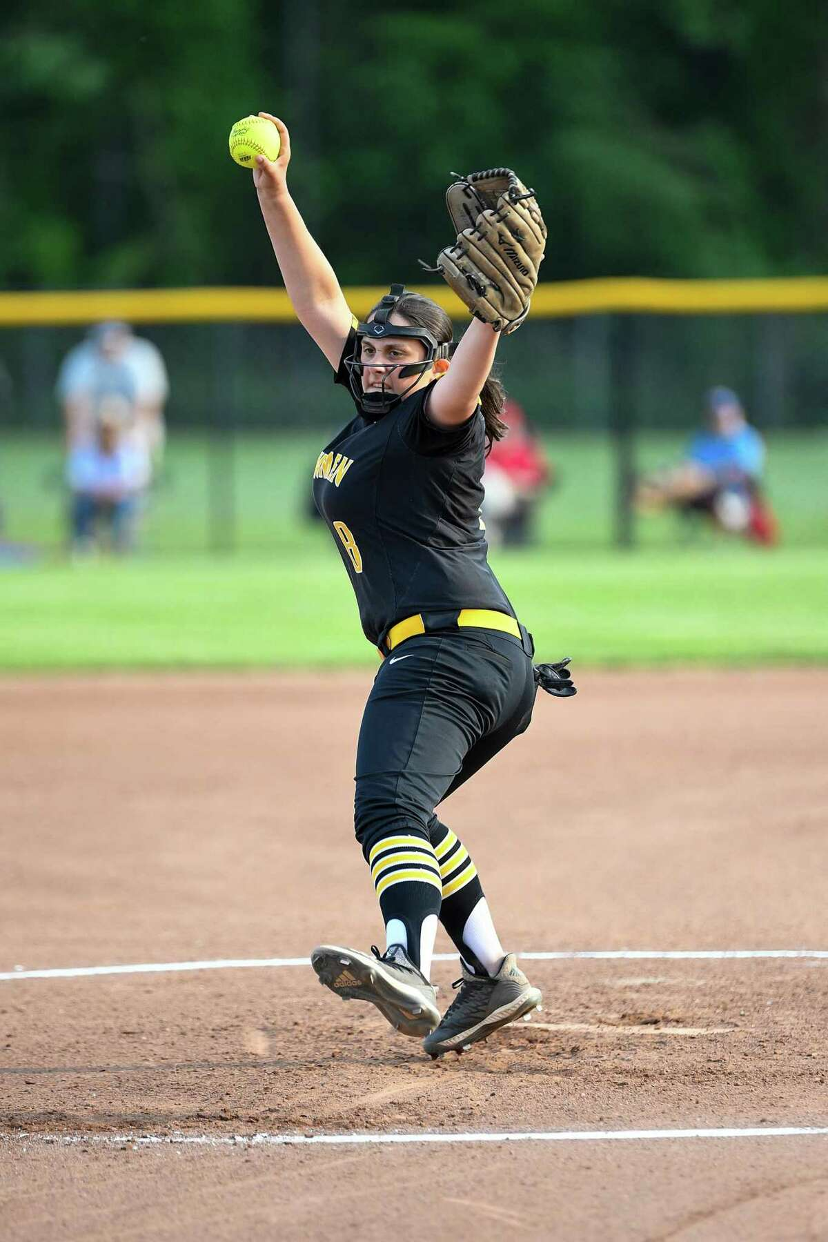 Jonathan Law's Brianna Buccitti delivers to the plate against Seymour High school during a CIAC Class M softball quarter final game at Seymour High School, Friday, May 31, 2019.