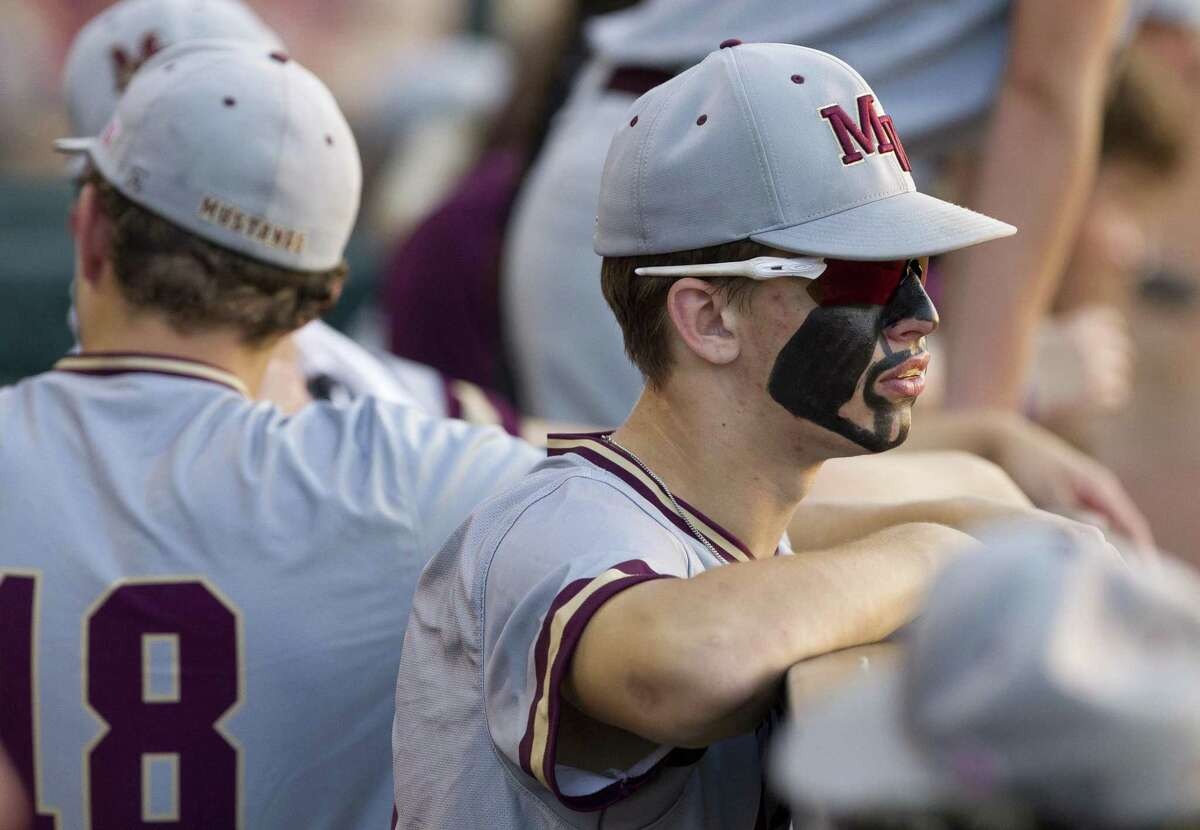 JT Phillips (15) of Magnolia West is seen in the dugout in the third inning of Game 2 during a Region III-5A final series at Blue Bell Park on the campus of Texas A&M University, Friday, May 31, 2019, in College Station.