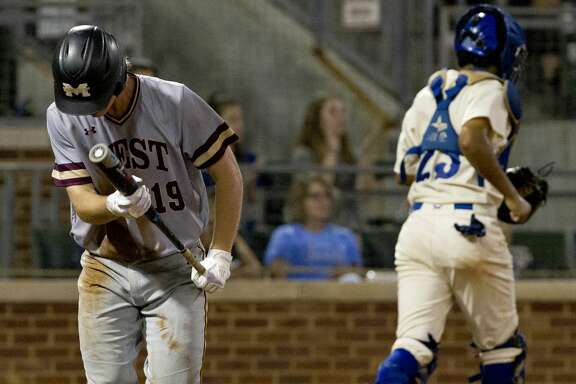 JP Ellwanger #19 of Magnolia West reacts after striking out with the bases loaded to end the top of the fifth inning of Game 2 during a Region III-5A final series at Blue Bell Park on the campus of Texas A&M University, Friday, May 31, 2019, in College Station.